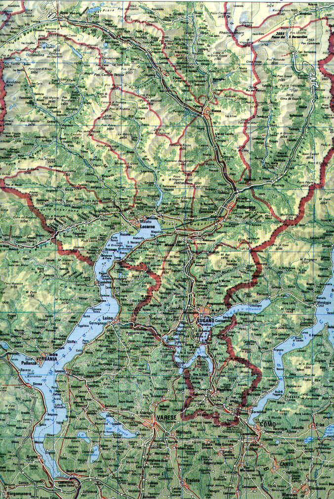 Dettagliata Cartina Della Svizzera.Cartina Dettagliata Del Canton Ticino